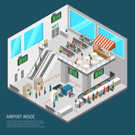 cartel aeropuerto de terminales del interior que presenta el recibo sala de llegadas de la zona de inspección de equipajes y otra ilustración vectorial isométrica