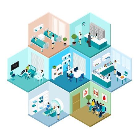 laboratorio clinico: Hospital de recepción y salas de espera de examen interior de nido de abeja teselado hexagonal isométrica patrón de la composición del vector abstracto aislado Ilustración
