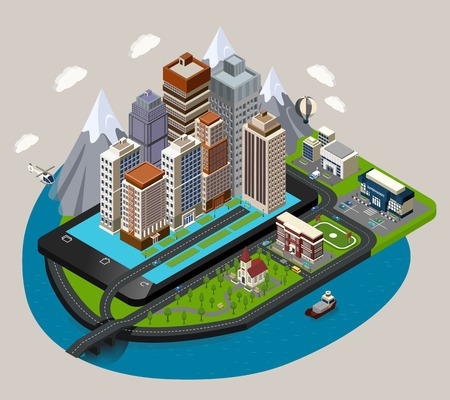 river scape: Isometric mobile city concept with abstract buildings street skyscrapers placed on the mobile device styled base vector illustration