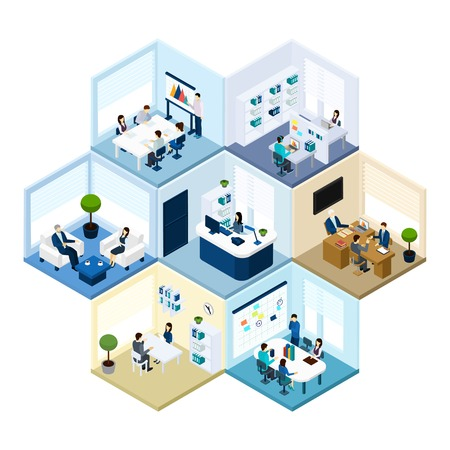 office environment: Business offices workspace interior organization tessellated honeycomb hexagonal isometric composition pattern abstract vector isolated illustration Illustration