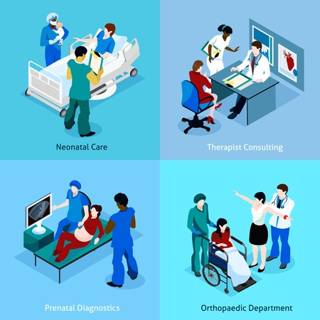 consulting room: Doctor patient isometric icon set with description of neonatal care therapist consulting prenatal diagnostics and orthopedic department vector illustration