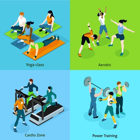 aerobics class: Fitness aerobic isometric icons set with description women on yoga class aerobic cardio zone and mans on power training vector illustration Illustration
