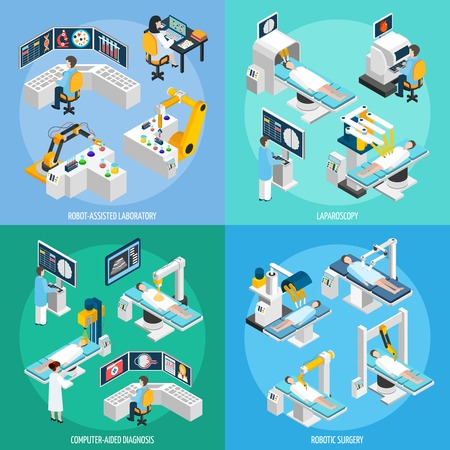 assisted: Medical robots 2x2 design concept set of robot assisted laboratory equipment for computer diagnostic laparoscopic operation and robotic surgery isometric vector illustration
