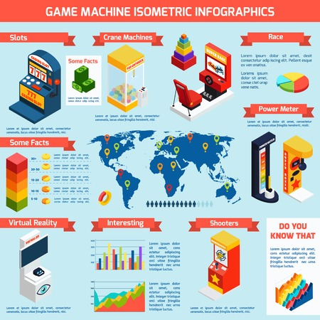 tragamonedas: m�quinas tragamonedas de juego isom�trica bandera infograf�a con las estad�sticas de distribuci�n mundial y datos interesantes Resumen ilustraci�n vectorial