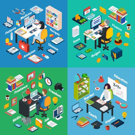 internet marketing: Professional workplaces of freelance photographer teacher and financial  advisor 4 isometric icons square abstract vector isolated illustration Illustration