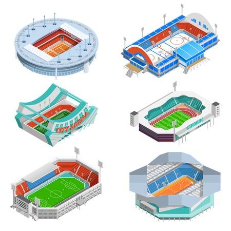 campeonato de futbol: iconos isométricos del estadio del deporte se establece con la ilustración vectorial de fútbol y hockey estadios aislado Vectores