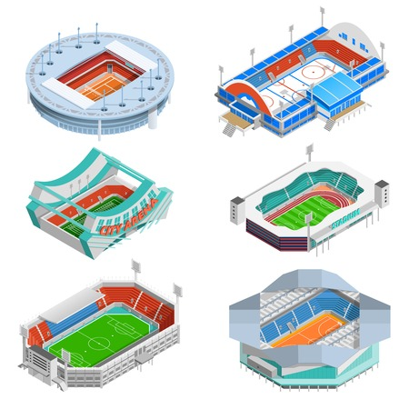 Sport stadium isometric icons set with football and hockey stadiums isolated vector illustration Ilustração
