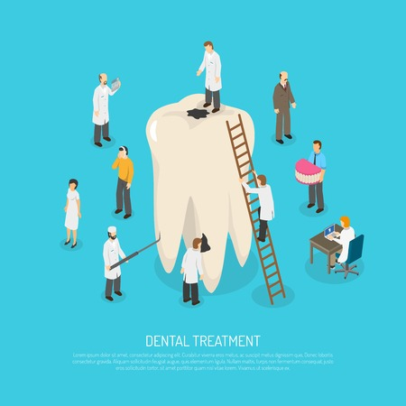 doctors and patient: Concept illustration depicting big bad tooth among small figures of doctors and patient vector illustration Illustration