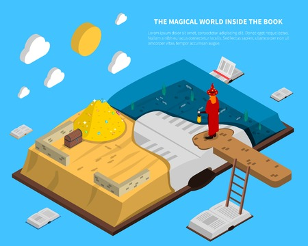 Magical world inside book isometry with treasures and sea at pages on blue background vector illustration Illustration