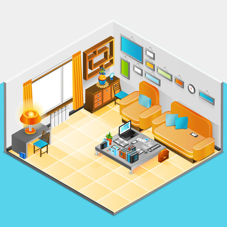 interior design home: Home interior design with sofa table armchair and books vector illustration