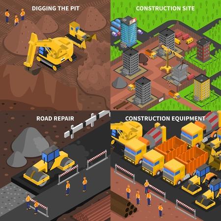 Construction générale notion isométrie avec des scènes de creuser le site de l'équipement et la réparation des routes isolé illustration vectorielle Vecteurs