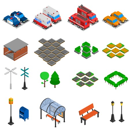 infrastructure: City infrastructure isometric elements set of  bench pavement tile mailbox lamp post traffic light office cars underpass bus stop vector illustration