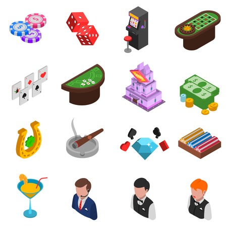 croupier: Casino gambling isometric icons set of cards chips dice horseshoe and croupier isolated vector illustration Illustration