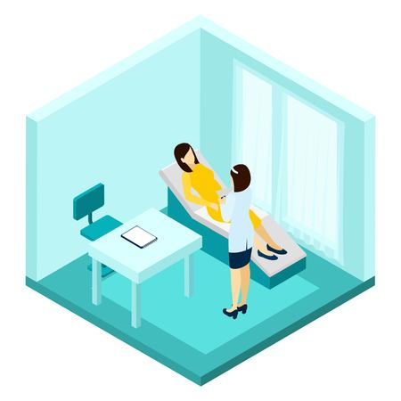gynecologist: Pregnancy consultation with woman and doctor making notes isometric vector illustration Illustration