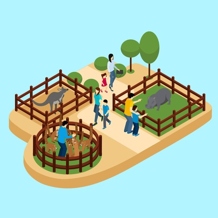 fun day: People at the zoo with hippos and lemurs on blue background isometric vector illustration