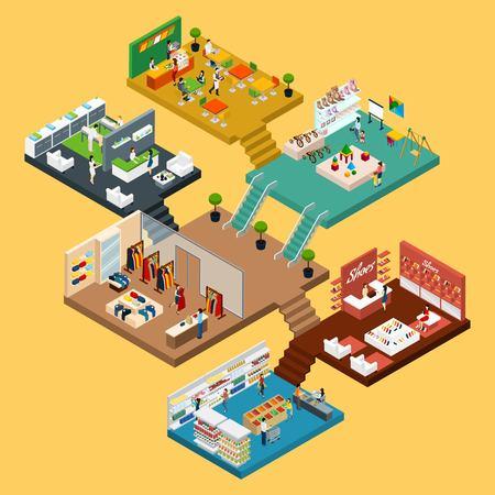 Centro comercial isométrica conjunto de iconos con un mapa conceptual 3d del centro comercial de varios pisos con diferentes pisos y zonas ilustración vectorial