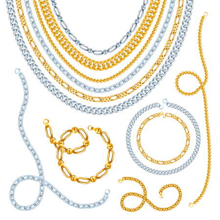 jeweller: Golden and silver chains necklaces and bracelets with clasps realistic isolated vector illustration