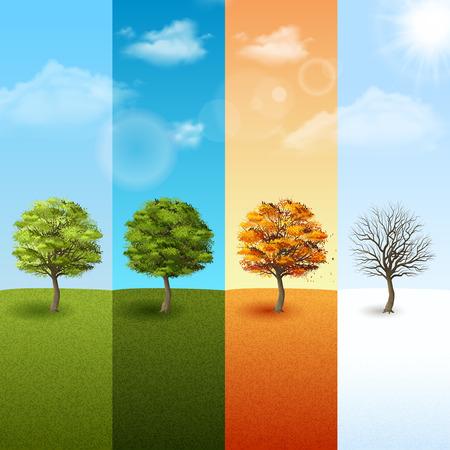 four season: Four season vertical banner set with trees on blue sky background vector illustration