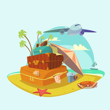 avion caricatura: Beach resort cartoon concept with sun umbrella and luggage vector illustration Vectores