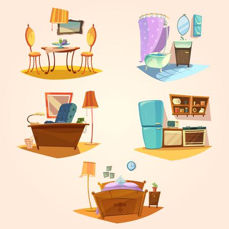 sillon: de dibujos animados retro interior configurado con la ilustración vectorial aislado muebles de época Vectores
