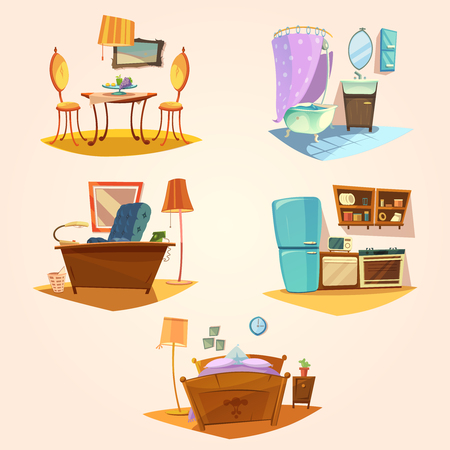 asleep chair: Interior cartoon retro set with vintage furniture isolated vector illustration