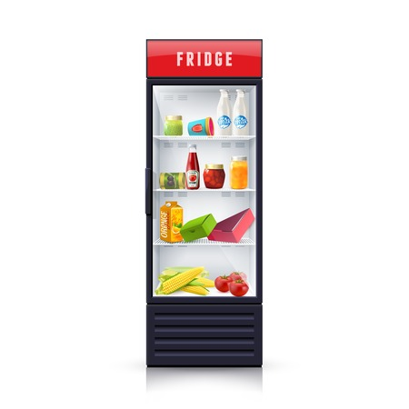 refrigerator kitchen: Modern refrigerator with vegetables dairy and canned products and transparent front panel icon print realistic vector Illustration Illustration