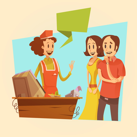 shop assistant: Saleswoman and customers at pay desk retro background  cartoon vector illustration