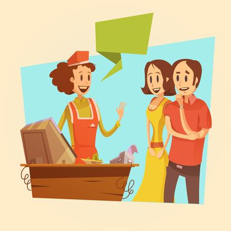 Verkoopster en klanten bij kassa retro achtergrond cartoon vector illustratie Vector Illustratie