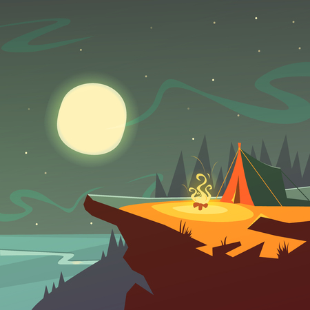 camping: Hiking at night cartoon background with tent fire moon and stars vector illustration