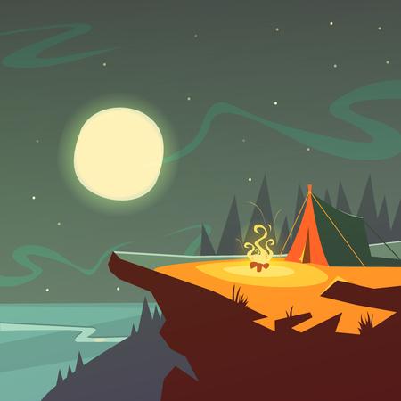 Wandern in der Nacht Cartoon-Hintergrund mit Zelt Feuer Mond und Sterne Vektor-Illustration Vektorgrafik