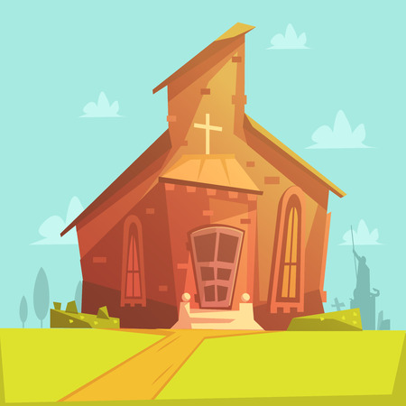 church people: Church old building cartoon background with lawn and trees vector illustration