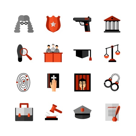 verdict: Legal law symbols flat icons collection with bible oath and court jury conviction verdict abstract isolated vector illustration