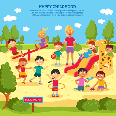 bike cover: Illustration of children playing outdoors with bright summer background vector Illustration Illustration