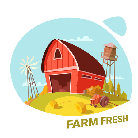 haystack: Farm and fresh organic products concept with haystack and tractor cartoon vector illustration Illustration