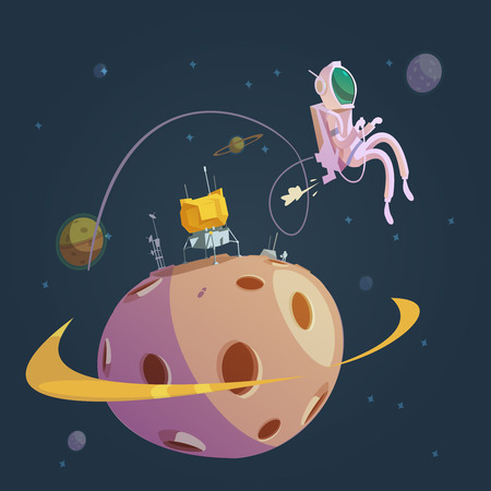 astronautics: Outer space cartoon background with planet exploration symbols vector illustration Illustration