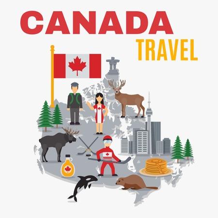 Decoratieve kaart canada poster met vlag nationale voedsel hockey wolkenkrabbers en sparren op een witte achtergrond vector illustratie