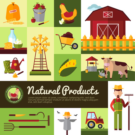 food production: Farm household for natural organic food production and crops harvesting tools flat banner design vector illustration