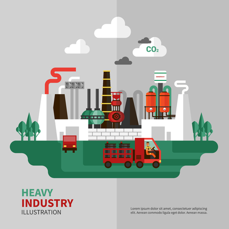 industry poster: Heavy industry poster with large factory on grey background vector illustration Illustration