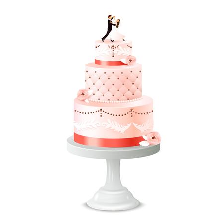 Wedding cake with statuette of newlywed and pedestal vector illustration