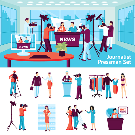 hot news: Journalist and pressmen  set with hot news ad conference symbols flat isolated vector illustration