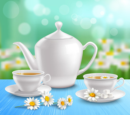 green tea cup: Teapot and cups composition with sugar on saucer and flowers of camomile on blue tablecloth vector illustration