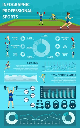 football stadium: Professional  sport Infographic with people icons graphics and charts  vector illustration