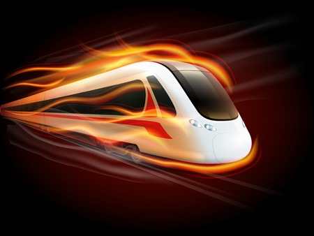 Night high-speed train on the way enwrapped in fire flames spectacular railways image poster print vector illustration
