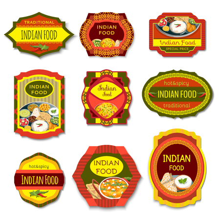 Indian food colorful emblems of traditional hot and spicy dishes with beans vegetables herbs isolated vector illustration