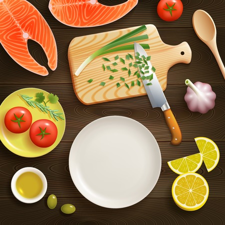 lay: Cooking fish dish flat lay photo composition with chopped young onion on cutting board dark background vector illustration