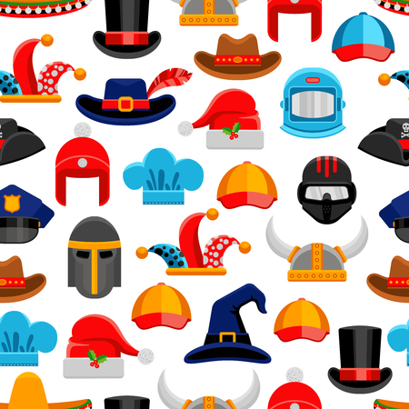 headwear: Headwear seamless colorful pattern with different kinds of hats from various ages and styles vector illustration Illustration