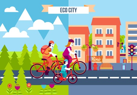 suburb: Set of decorative icons with family traveling by bicycles from the suburb to the eco city vector illustration