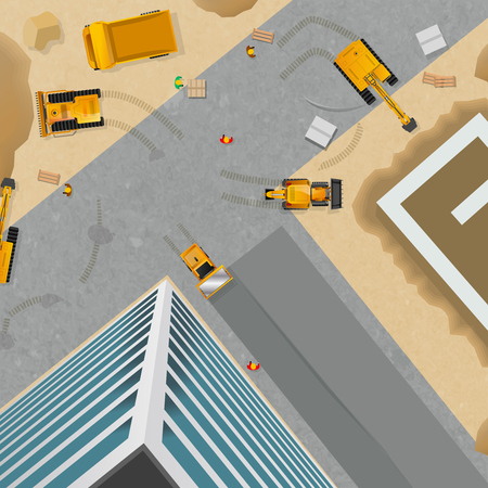 Top viewed poster of preparation for block construction by different machines and equipment vector illustration