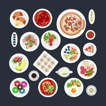 fried shrimp: A set of top viewed plates in different sizes with various food vector illustration Illustration