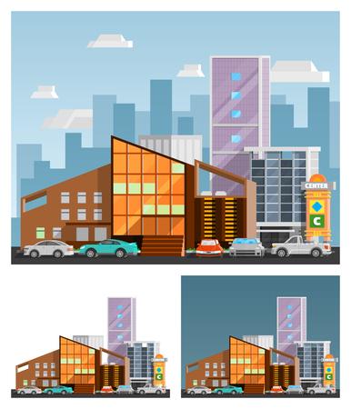 Centre commercial construction compositions orthogonales défini avec signboard plat isolé illustration vectorielle Vecteurs